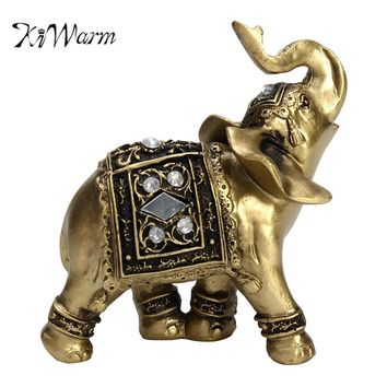 KiWarm New Arrival Feng Shui Elegant Elephant Statue Lucky Wealth Figurine Crafts Gift for Home Office Desktop Decor Ornaments