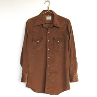 Mens Vintage 1970s Lee / Brown Corduroy Button-down Western Shirt / White Pearl Snaps