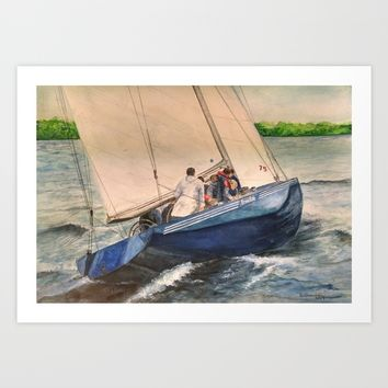 12 US 30 Freedom - 1980 America's Cup Winner Art Print by DJ Beaulieu