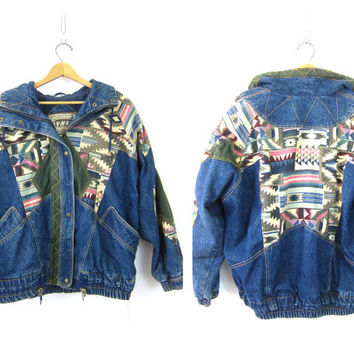 Oversized 80s Jean Jacket Southwestern Patches Slouchy Denim Coat Baggy Ethnic Winter Jacket Indie Hipster Vintage Women's Size Large