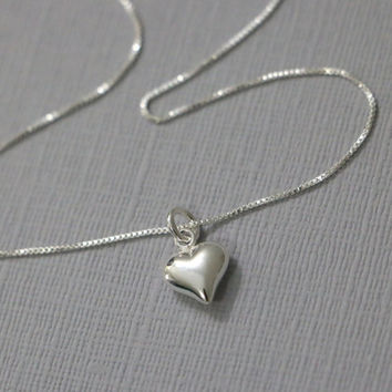 Heart Necklace, Sterling Silver Heart Pendant On Sterling Silver Necklace Chain, Silver Heart Necklace
