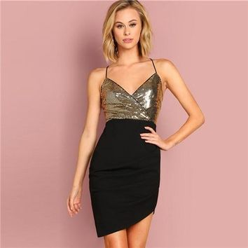 Swept Up Sequin Wrap Sleeveless Dress