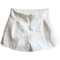ROMWE | Zippered Floral White Shorts, The Latest Street Fashion