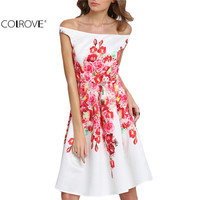 COLROVE Women Sexy Summer Style White Off The Shoulder Floral Print A Line Dresses Casual 2016 New Knee Length Dress