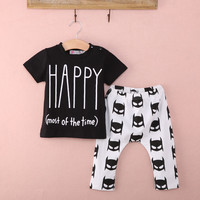 Children Cartton suit New 2Pcs Newborn Baby Boys Outfits Top T-shirt +Batman Pants Clothes Set Alternative Measures