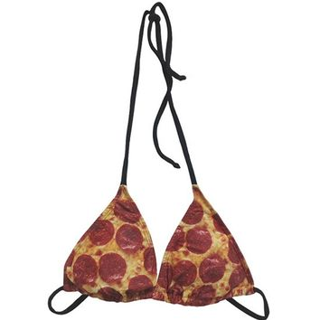"Women's ""Pizza"" Bikini Top by Pyknic"