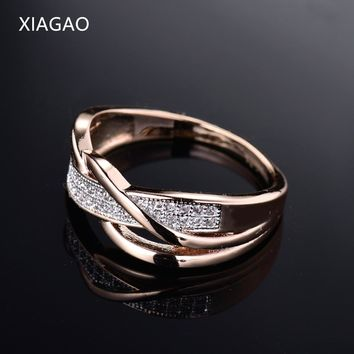 XIAGAO 2017 New Design Love Infinity Twist Rings for Women Gold Color AAA CZ Finger Ring Female Ringen Wedding Jewelry XGR247