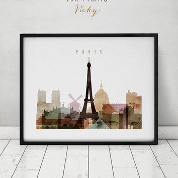 Paris watercolor print, Paris watercolor poster, Wall art, Paris skyline, cities poster, typography art, digital watercolor ART PRINTS VICKY