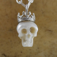 Carved Pearl Skull Wearing Sterling Silver Crown on Sterling Silver Chain - Pearl Necklace - Abstract Necklace - Halloween Necklace