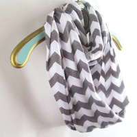 Gray white chevron infinity scarf