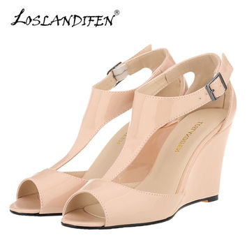 LOSLANDIFEN New Wedges Women Sandals Sexy Peep Toe Platform Summer Casual Shoes Buckle Woman T-Strap High Heels Party Sandals