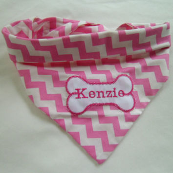 NEW -Custom Dog Bandana- Tie On- Dog Bone Collar - Custom Dog Collar- Monogrammed-Embroidery