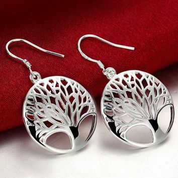 Antique Silver Trendy Tree Leaves Earrings For Women