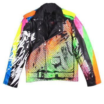 Ben Copperwheat One of A Kind 'ZIG ZAG' Leather MC Jacket - IMMEDIATE | Patricia Field