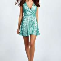 Jan Sequin Wrap Skater Dress