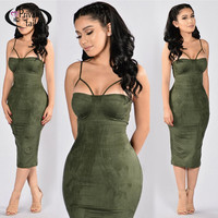 Women Sexy Bodycon Dress 2017  New Spring Sleeveless dresses Fashion Style Suede Push up padded Strapless Vestidos