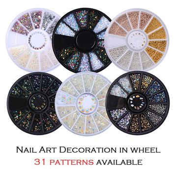 Colorful Shinning Nail Rhinestones Sharp Flat Bottom Studs 3D Nail Decor Manicure Nail Art Decoration In Wheel