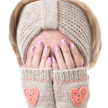 Hand Knitted Fingerless Gloves in a Gray-Beige Color with a Coral Heart, Womens Mittens