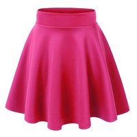 JNTworld Women Stretch high Waist Flared Plain Pleated mini skirt, S, hot pink