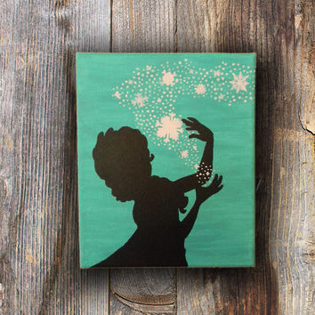 Snowflake Painting, Snow Silhouette, Girl in Snow, Silhouette Girl, Silhouette Painting in Winter Wonderland
