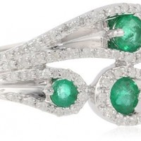 Sterling Silver Emerald and Diamond Paisley Ring (1/5 cttw, I-J Color, I2-I3 Clarity), Size 7
