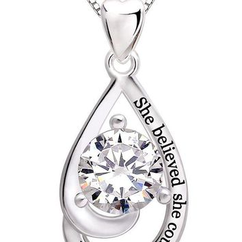 DCCKV2S ALOV Jewelry Sterling Silver 'She believed she could so she did' Cubic Zirconia Pendant Necklace