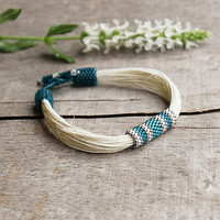 Teal summer  bracelet, white linen bracelet, organic jewelry, delicate bracelet, artisan beadwork, 2015 summer trends, natural gift for her