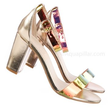 Striking28 Hologram Chunky Block Heel Sandal - Women Ankle Strap Heeled Shoes