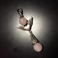 Guardian Angel Faceted Rose Quartz Gemstone Lobster Clasp Charm