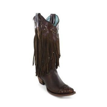 ICIKAB3 Corral Brown Sierra Fringe & Studded Leather Snip Toe Boots C1185