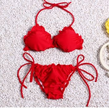 CUTE SHOW BODY PLEATED RED FASHION BIKINI TWO PIECE BIKINI BATH SUIT SWIMWEAR
