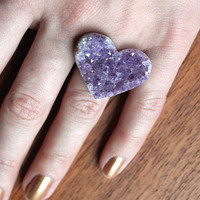 $45.00 Heart Shaped Amethyst Ring  Silver by mooreaseal on Etsy