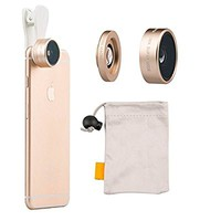iMoreGro® Universal Professional HD Camera Lens Kit 0.36x Super Wide Angle Lens + 15x Super Macro Lens for iPhone 6s/6s Plus,iPhone 6/6 Plus, iPhone 5 5S 4 4S Samsung HTC Other Smartphones(Gold)