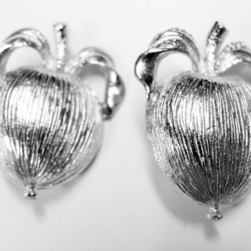 Sarah Coventry Adam's Delight Clip on Earrings | Vintage Silver Tone Apple Clip Back Earrings