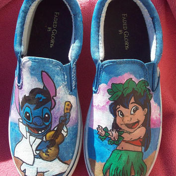 This Pair Ready to mail today. Hula Lilo and Elvis Stitch, Pleakley, Scrump and Pudge the fish. Custom painted shoes.