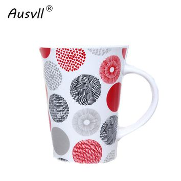 Ausvll Ceramics Water Mugs Home Creative Style Cup Personality Gift Fashion Office Mugs Breakfast Milk Cup Dot New Casual Mug