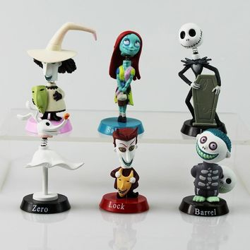 6Pcs/Set Nightmare Before Christmas Figures Lock Sally Zero Barrel Shock Jack PVC Action Figure Toys Model Dolls Great Gift