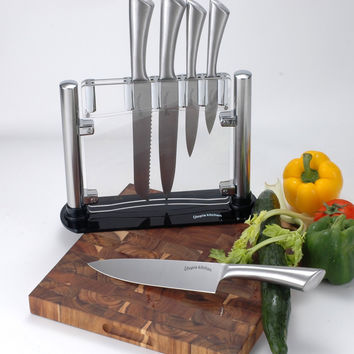 Stainless-Steel Kitchen 6 Knife-Set with Acrylic Stand - Chef Knife, Bread Knife, Carving Knife, Paring Knife, Utility Knife