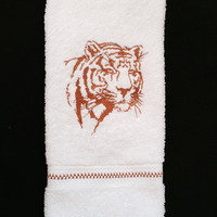 Tiger Silhouette Embroidered bathroom hand towel.