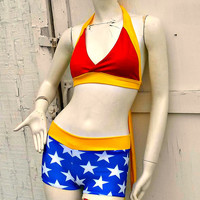 Wonder retro Halter Bikini Woman swimsuit costume Cosplay Comics