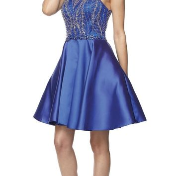 Juliet 785 Royal Blue A-Line Short Prom Dress Cut Out Back Halter Neckline