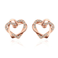 Always Together Two Hearts Rose Gold Stud Earrings