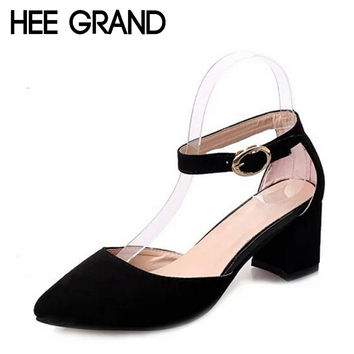 HEE GRAND Summer Pumps Shoes Flock Pointed Toe Mary Janes High Heels Casual Autumn Elegant Lady Buckle Strap Shoes Woman WXG009