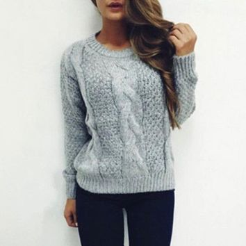 Twisted Pullover Winter Knit Tops Sweater [11275922311]