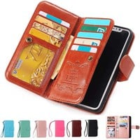 Luxury Leather Flip Wallet Card Holder Stand Case Cover For iPhone 6s 7 8 Plus X
