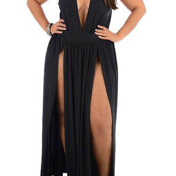 Black V-Neck Sleeveless High Slit Plus Size Dress