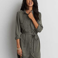 AEO Twill Shirtdress, Olive