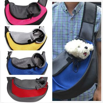 Pet Carrier Cat Puppy Small Animal Dog Carrier Sling Front Mesh Travel Tote