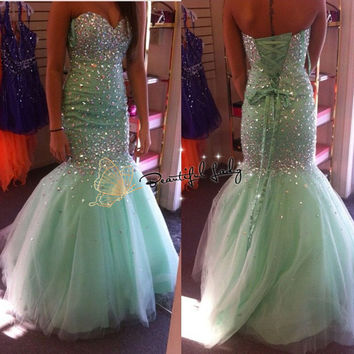 Sparkly Crystal Mermaid Prom Dresses Sweetheart Off the Shoulder Lace Up Back Plus Size Occasion Dress Women Wedding party Gowns