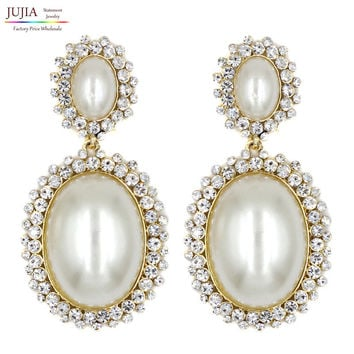 Crystal Simulated Pearl Earrings for any Party or Wedding.